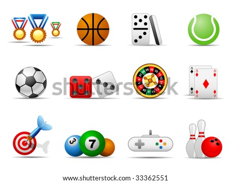 Set of icons on a theme game