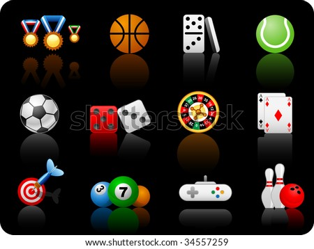 Set of icons on a theme game - black background