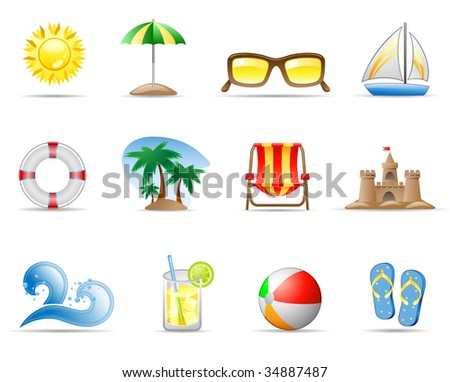 Set of icons on a theme Sun Sea and Beach