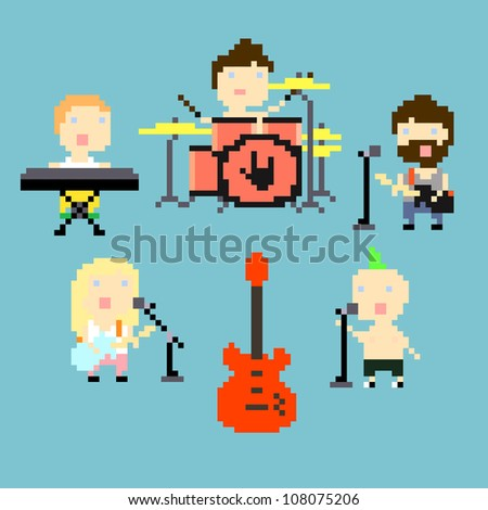 Set of icons on rock band theme in pixel art style, vector illustration