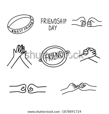 Set of icons on the theme of friendship. Handshake, greeting, friendship bracelet, badge with the inscription friend. Happy friendship day. Black and white vector illustration isolated