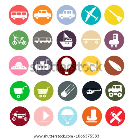 Set of icons on the theme of transport. 25 icons in flat style. Vector illustration