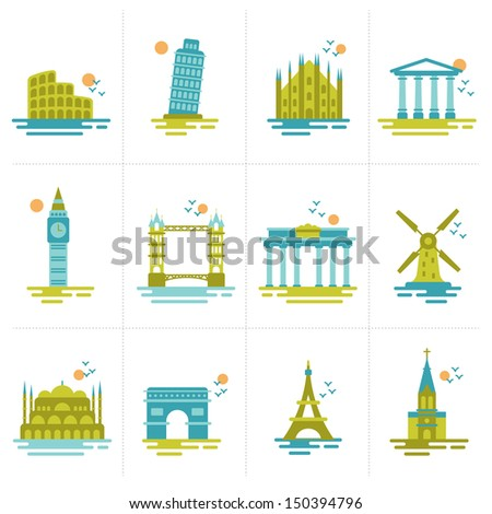 set of icons on the topic of travel. Group of famous international landmarks.