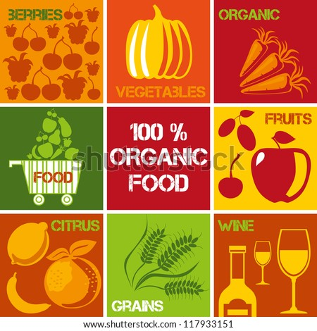 Set of icons �¢?? 100% organic and healthy food. Logos set for organic market.