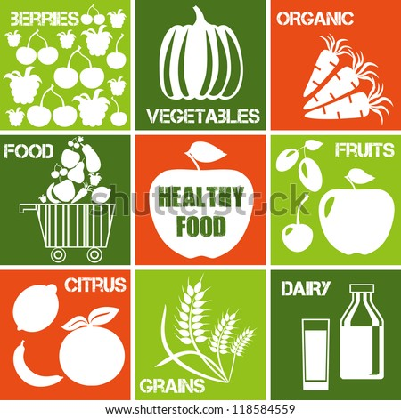 Set of icons: organic and healthy food. Logos set for organic market.