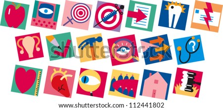 Set of icons related to health, government and information - stock vector