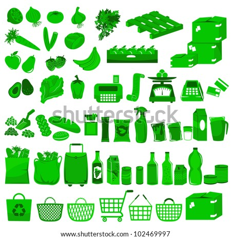 set of icons related to supermarkets and shopping