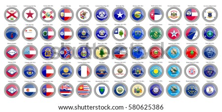 Set of icons. States of the USA flags. Vector.