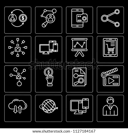 Set Of 16 icons such as Avatar, Responsive, Worldwide, Cloud, Video player, Investment, Communication, Network, Analytics, web UI editable icon pack, pixel perfect #1127184167