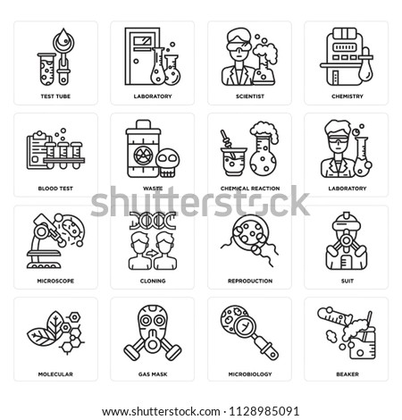 set of 16 icons such as beaker