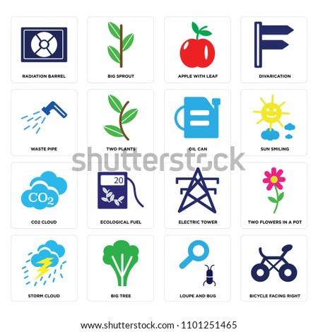 set of 16 icons such as bicycle