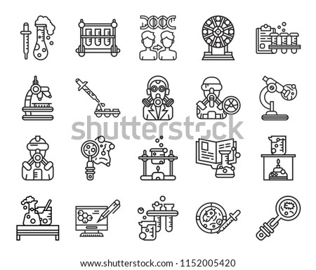 set of 20 icons such as biology