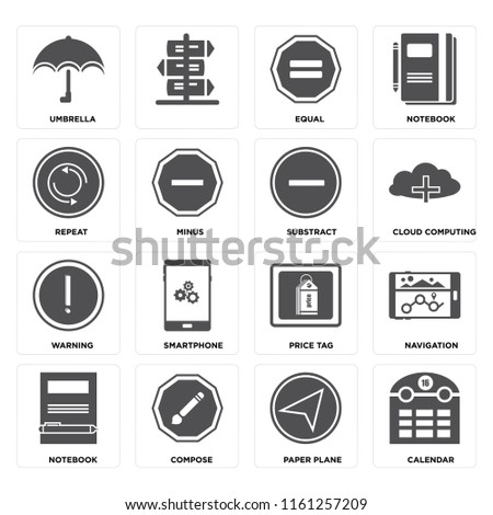Set Of 16 icons such as Calendar, Paper plane, Compose, Notebook, Navigation, Umbrella, Repeat, Warning, Substract, web UI editable icon pack, pixel perfect