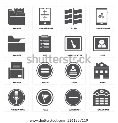 Set Of 16 icons such as Calendar, Substract, Flag, Microphone, Home, Folder, Music player, web UI editable icon pack, pixel perfect
