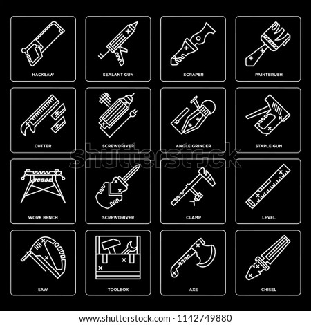 Set Of 16 icons such as Chisel, Axe, Toolbox, Saw, Level, Hacksaw, Cutter, Work bench, Angle grinder, web UI editable icon pack, pixel perfect