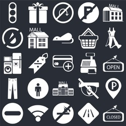 Set Of 25 icons such as Closed, Road, No smoking, Wifi, Forbidden, Dress, Cashier machine, Mall, Jeans, water, turn, Gift on black background, web UI editable icon pack