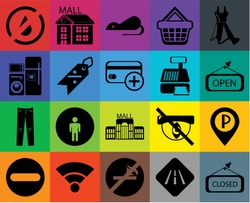 Set Of 20 icons such as Closed, Road, No smoking, Wifi, Forbidden, Dress, Parking, Mall, Jeans, Discount, Cashier machine, water, Open, Rats, transparency icon pack, pixel perfect