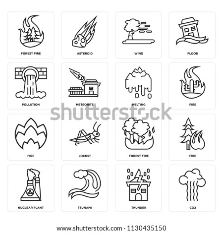 Set Of 16 icons such as Co2, Thunder, Tsunami, Nuclear plant, Fire, Forest fire, Pollution, Melting, web UI editable icon pack, pixel perfect