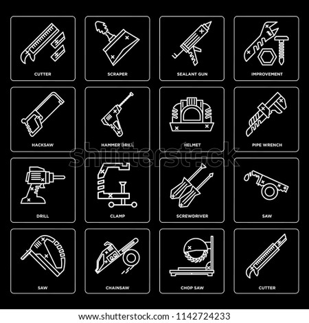 Set Of 16 icons such as Cutter, Chop saw, Chainsaw, Saw, Hacksaw, Drill, Helmet, web UI editable icon pack, pixel perfect