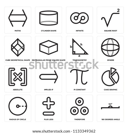 Set Of 16 icons such as 180 degrees angle, Therefore, Plus less, Radius of circle, Cake graphic, Maths, Cube geometrical shape, Absolute, Trigonometry, web UI editable icon pack, pixel perfect