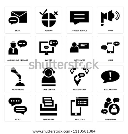 set of 16 icons such as