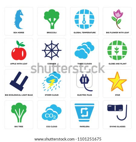 set of 16 icons such as diving