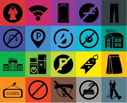 Set Of 20 icons such as Dress, No wifi, Hidden, Forbidden, Closed, Jeans, Paper bag, parking, Mall, Parking, fire, Restroom, Smartphone, transparency icon pack, pixel perfect