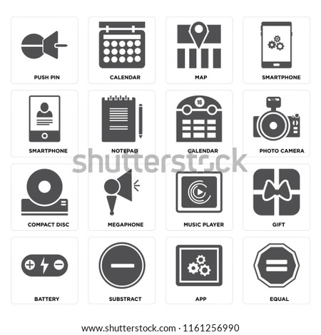 Set Of 16 icons such as Equal, App, Substract, Battery, Gift, Push pin, Smartphone, Compact disc, Calendar, web UI editable icon pack, pixel perfect