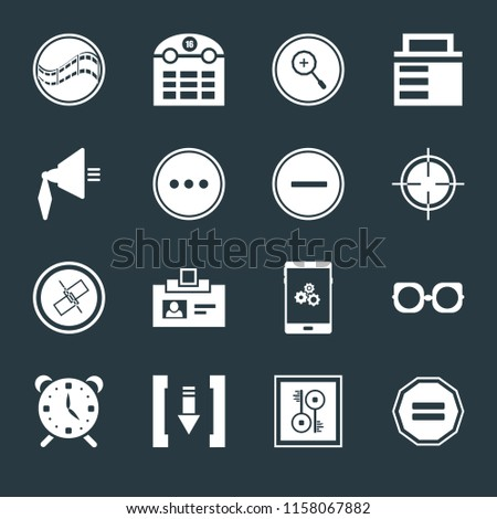 Set Of 16 icons such as Equal, Key, Download, Alarm, Eyeglasses, Film, Speaker, Unlink, Substract on black background, web UI editable icon pack
