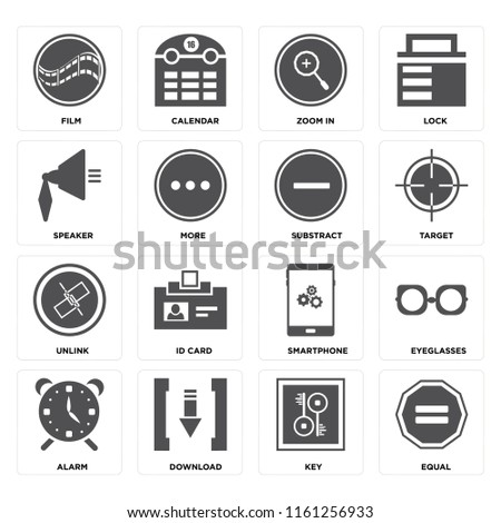 Set Of 16 icons such as Equal, Key, Download, Alarm, Eyeglasses, Film, Speaker, Unlink, Substract, web UI editable icon pack, pixel perfect