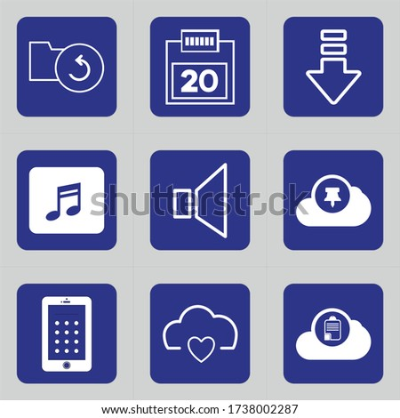 Set of 9 icons such as folder, fish, refresh, storage, f5, date, calendar, schedule, appointment