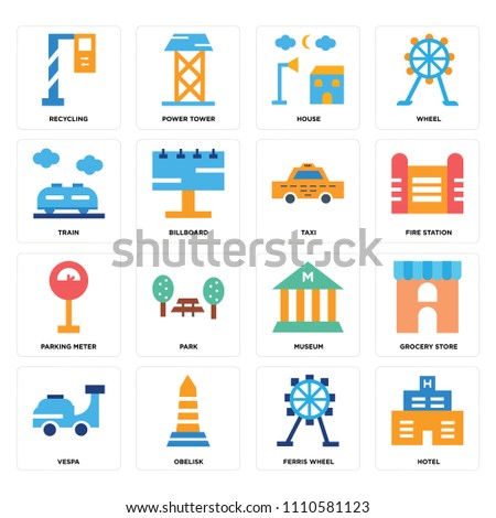 set of 16 icons such as hotel