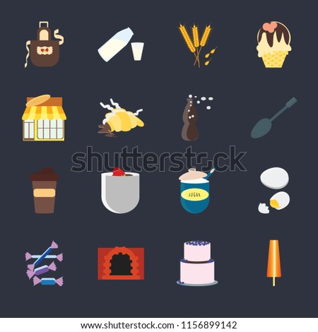 set of 16 icons such as ice