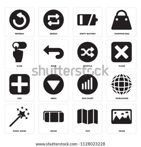 Set Of 16 icons such as Image, Map, Erase, Magic wand, Worldwide, Refresh, Slide, Add, Shuffle, web UI editable icon pack, pixel perfect