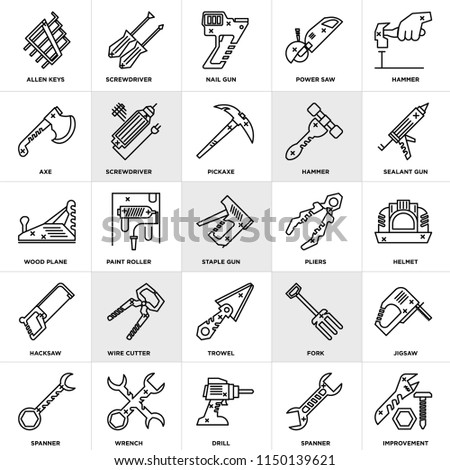 Set Of 25 icons such as Improvement, Spanner, Drill, Wrench, Sealant gun, Pliers, Trowel, Hacksaw, Axe, Nail Screwdriver, web UI editable icon pack, pixel perfect