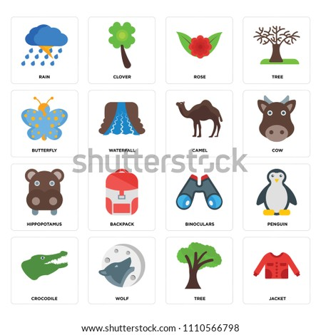 set of 16 icons such as jacket