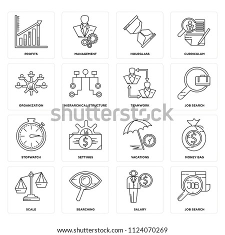 Set Of 16 icons such as Job search, Salary, Searching, Scale, Money bag, Profits, Organization, Stopwatch, Teamwork, web UI editable icon pack, pixel perfect #1124070269