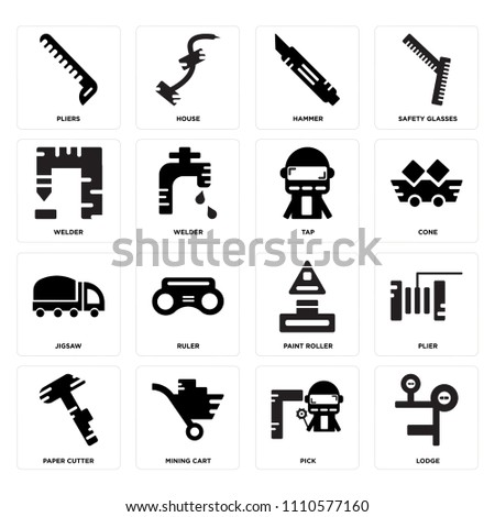 Set Of 16 icons such as Lodge, Pick, Mining cart, Paper cutter, Plier, Pliers, Welder, Jigsaw, Tap, web UI editable icon pack, pixel perfect