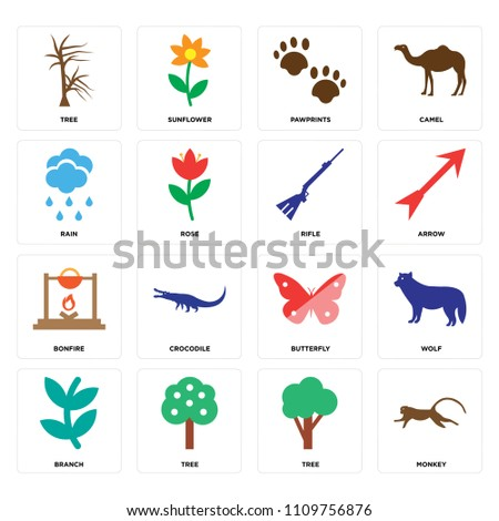 set of 16 icons such as monkey