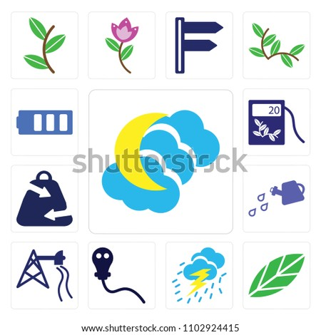 set of 13 icons such as night