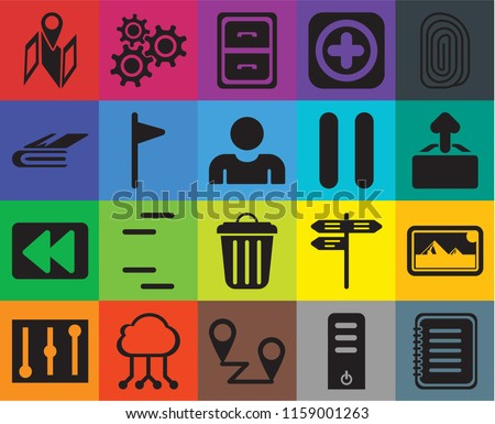 Set Of 20 icons such as Note, Server, Placeholders, Cloud computing, Controls, Fingerprint, Photos, Garbage, Rewind, Flag, Pause, Map, Upload, Archive, transparency icon pack, pixel perfect