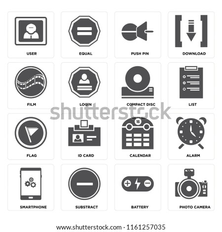 Set Of 16 icons such as Photo camera, Battery, Substract, Smartphone, Alarm, User, Film, Flag, Compact disc, web UI editable icon pack, pixel perfect