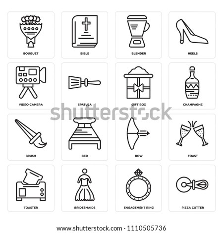 set of 16 icons such as pizza