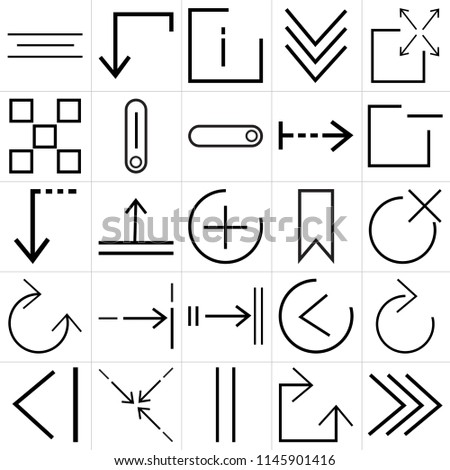 Set Of 25 icons such as play, Clockwise, Vertical, Compress, Back, window, Bookmark, Tab, buttons, info, down, web UI editable icon pack, pixel perfect