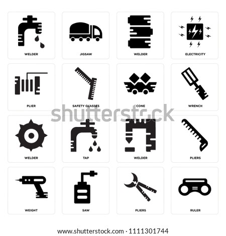 Set Of 16 icons such as Ruler, Pliers, Saw, Weight, Welder, Plier, Cone, web UI editable icon pack, pixel perfect