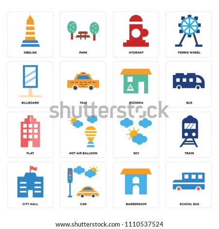 set of 16 icons such as school