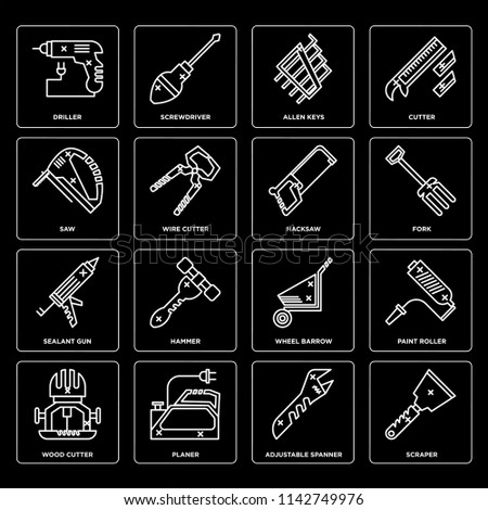 Set Of 16 icons such as Scraper, Adjustable spanner, Planer, Wood cutter, Paint roller, Driller, Saw, Sealant gun, Hacksaw, web UI editable icon pack, pixel perfect
