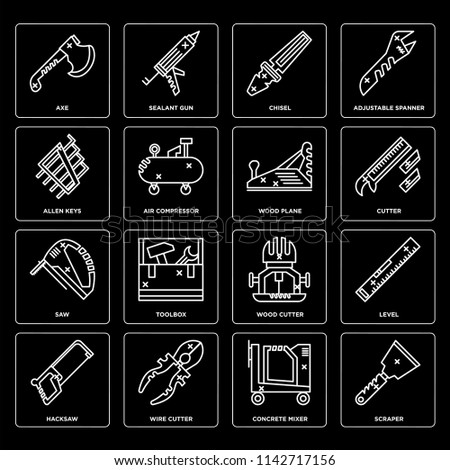 Set Of 16 icons such as Scraper, Concrete mixer, Wire cutter, Hacksaw, Level, Axe, Allen keys, Saw, Wood plane, web UI editable icon pack, pixel perfect