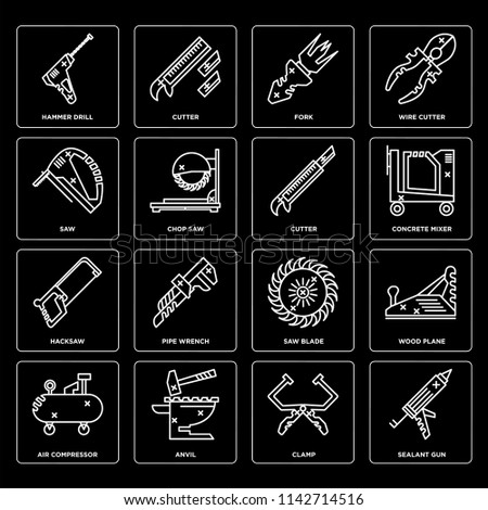 Set Of 16 icons such as Sealant gun, Clamp, Anvil, Air compressor, Wood plane, Hammer drill, Saw, Hacksaw, Cutter, web UI editable icon pack, pixel perfect