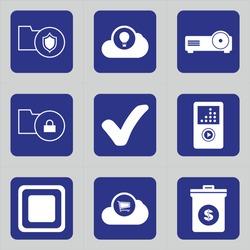 Set of 9 icons such as shield, security, folder, safety, cloud, air ballon, hot ballon, theatre, output